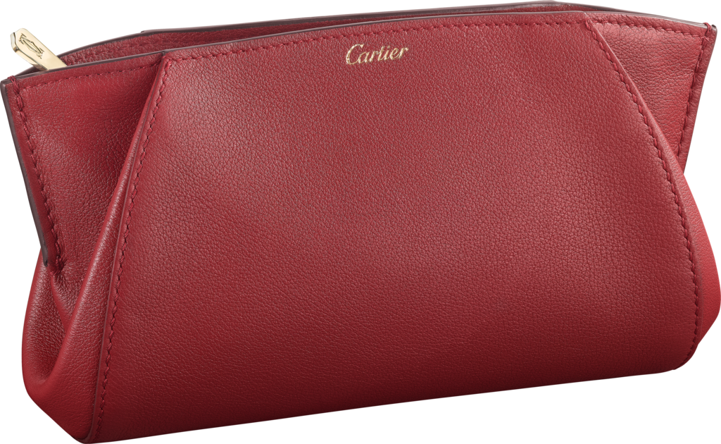 Small Leather Goods C de Cartier clutch bagRed spinel-colored taurillon leather, golden finish