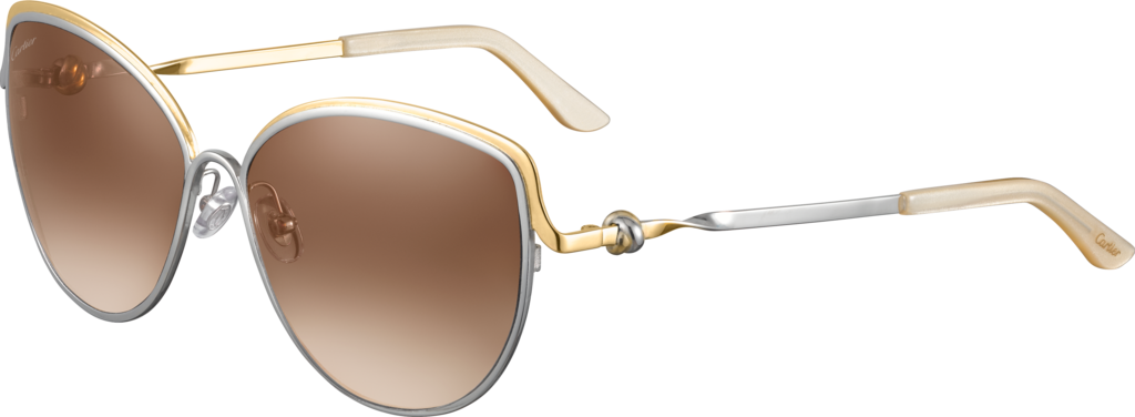 Trinity sunglassesTwo-tone golden and palladium-finish metal, brown lenses