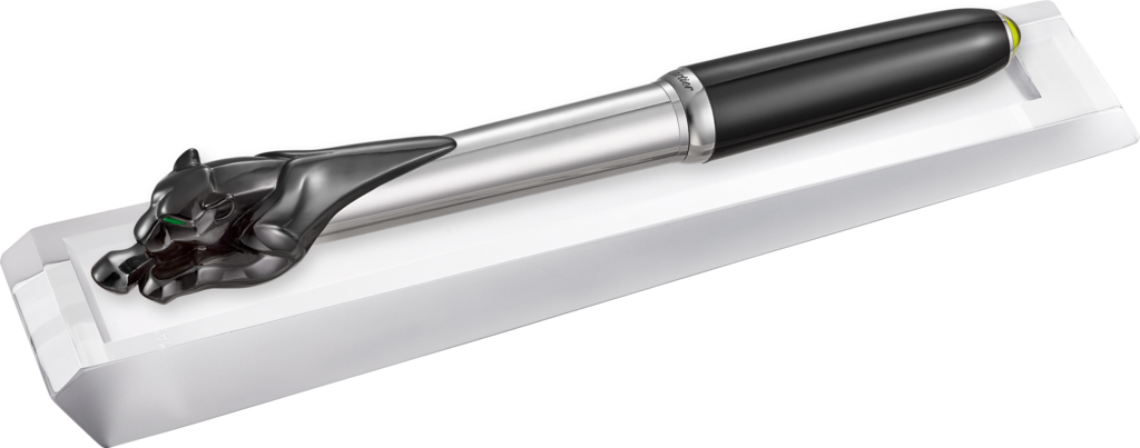 Exceptional black Panthère fountain pen925 sterling silver, palladium finish