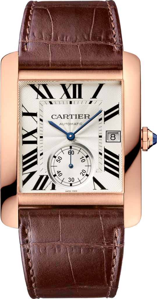 Tank MC watchLarge model, 18K pink gold, leather
