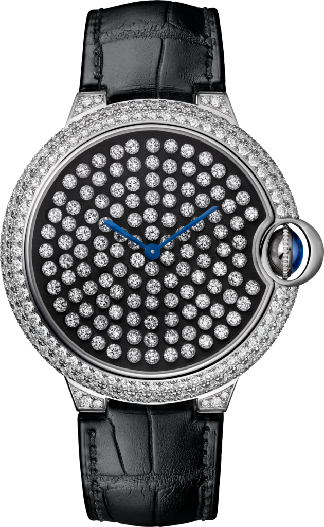 Ballon Bleu de Cartier watch42 mm, rhodiumized 18K white gold, alligator skin, diamonds