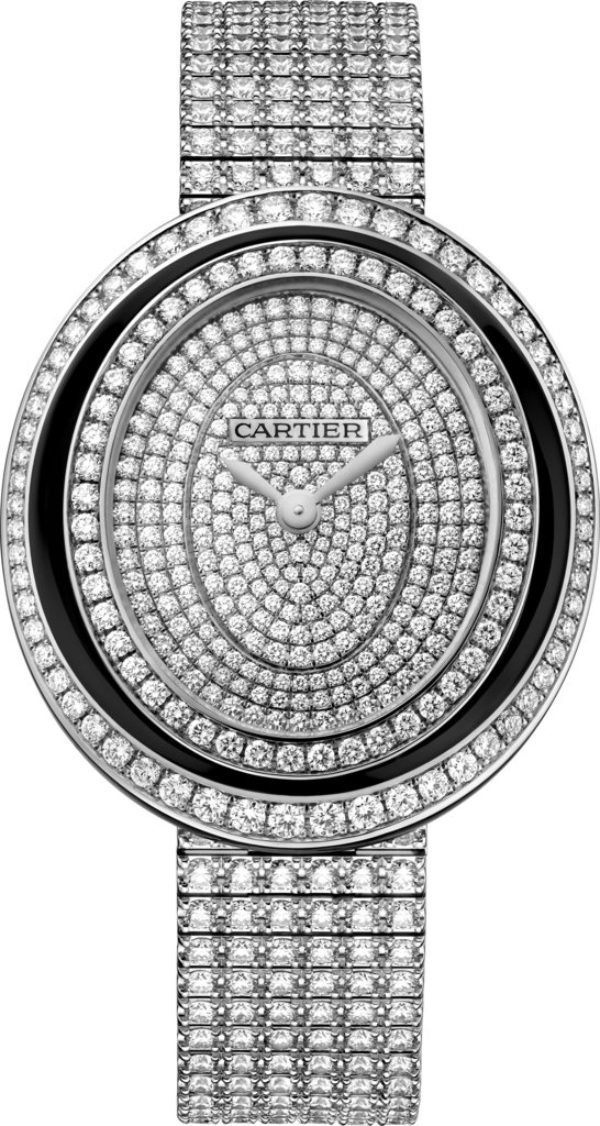 Hypnose watchMedium model, rhodiumized 18K white gold, black lacquer, diamonds
