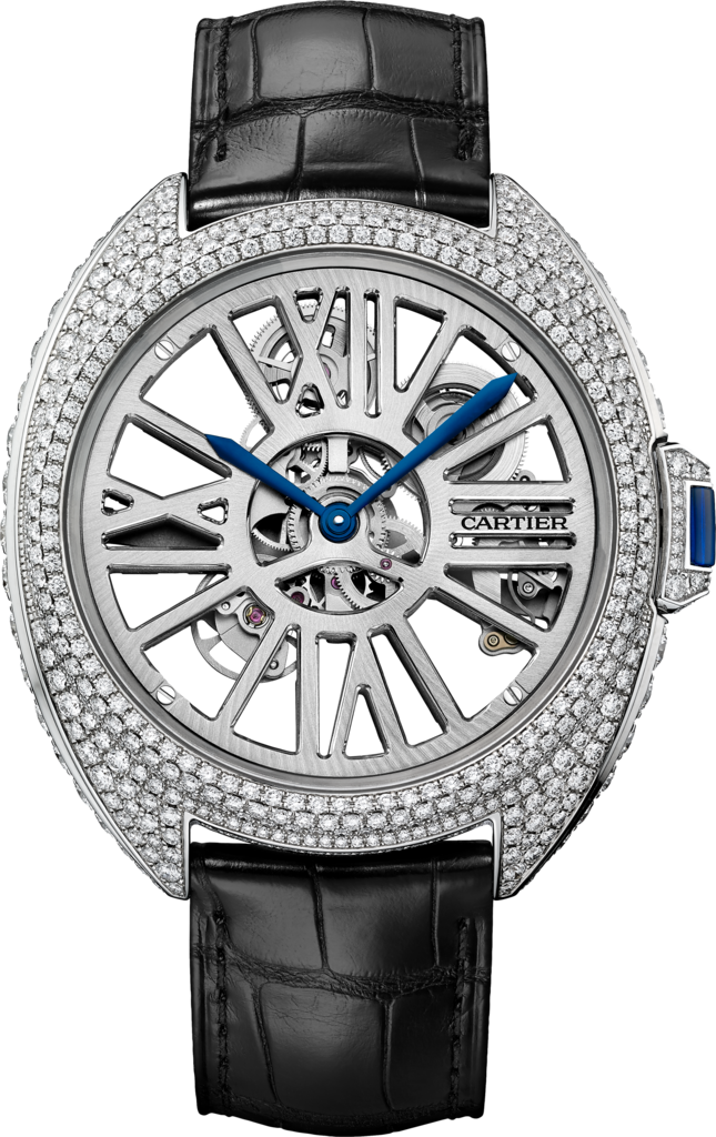Clé de Cartier Automatic Skeleton gem-set watch41 mm, automatic, palladium, diamonds, leather