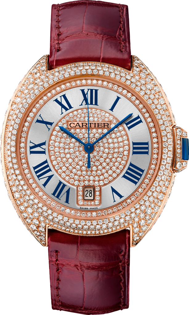 Clé de Cartier watch40 mm, 18K pink gold, leather, diamonds