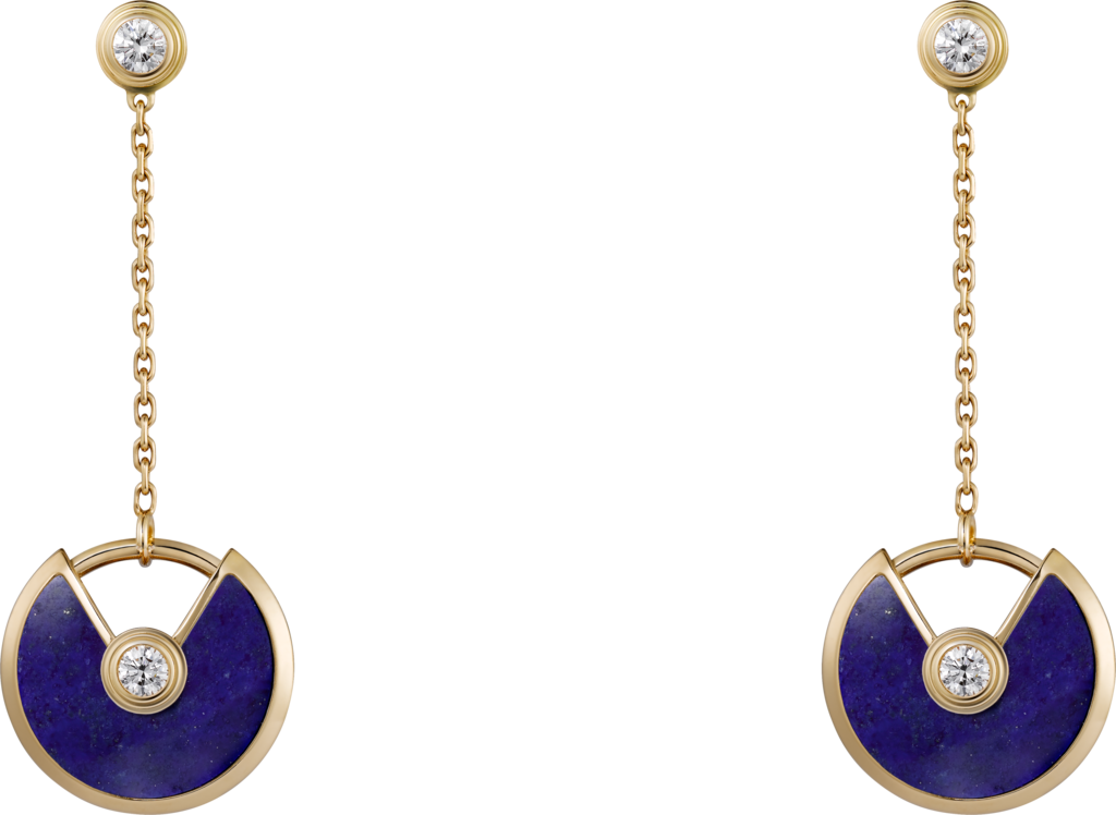 Amulette de Cartier earrings, XS modelYellow gold, lapis lazuli, diamonds