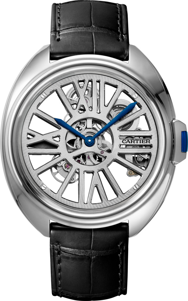 Clé de Cartier Skeleton Automatic watch41 mm, automatic, palladium, leather