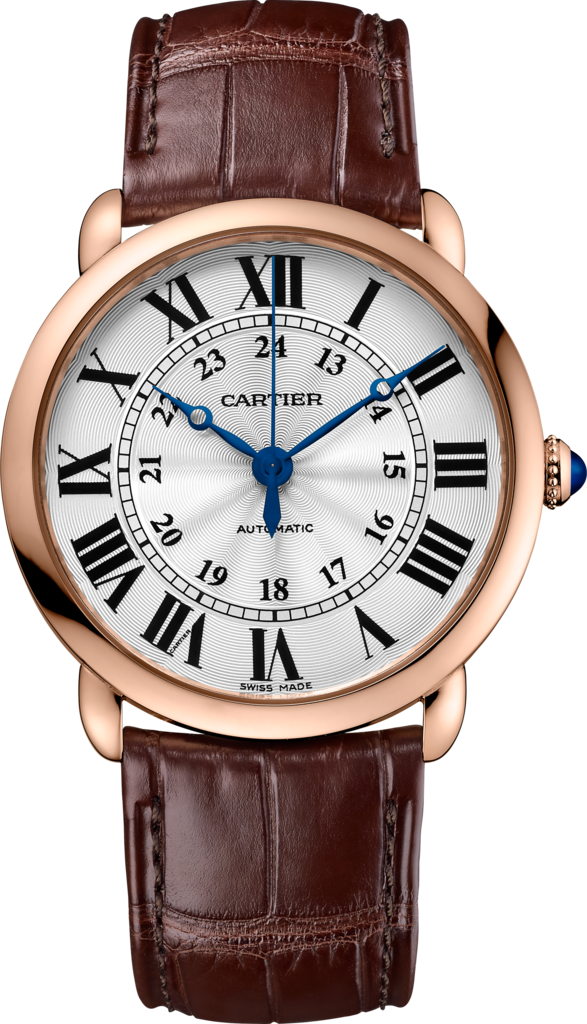 Ronde Louis Cartier watch36 mm, 18K pink gold, leather
