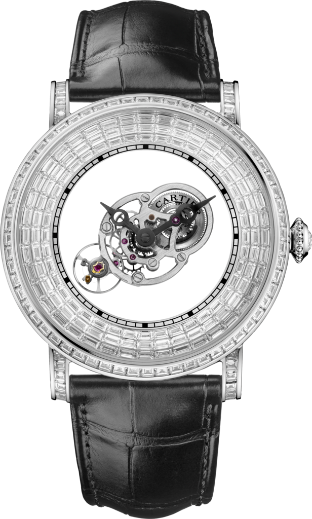Rotonde Astromystérieux watch with baguette-cut stones43.5 mm, platinum, diamonds, alligator skin