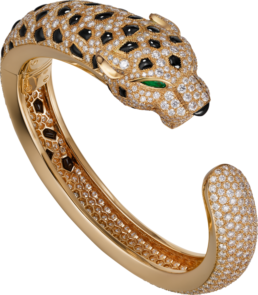 Panthère de Cartier braceletYellow gold, emeralds, onyx, diamonds