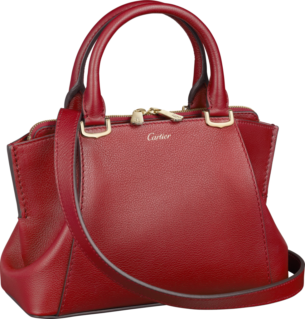C de Cartier bag, mini modelRed spinel-colored taurillon leather, golden finish