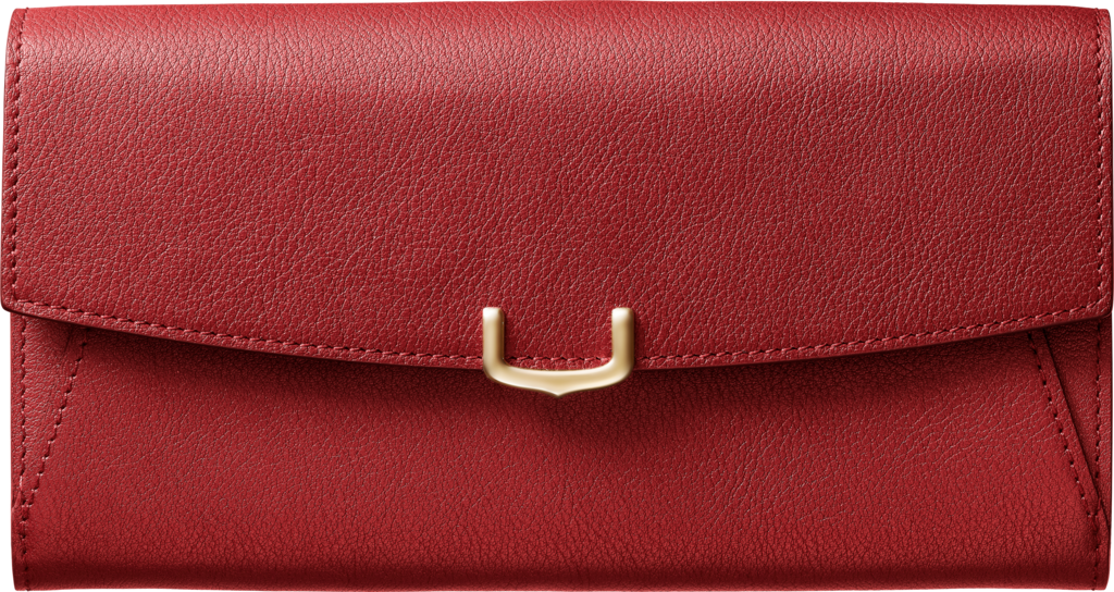 Small Leather Goods C de Cartier, international walletRed spinel-colored taurillon leather, golden finish