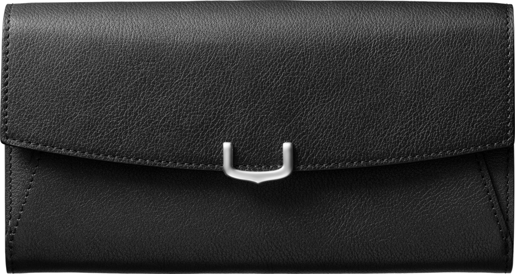 Small Leather Goods C de Cartier, international walletOnyx-colored taurillon leather, palladium finish