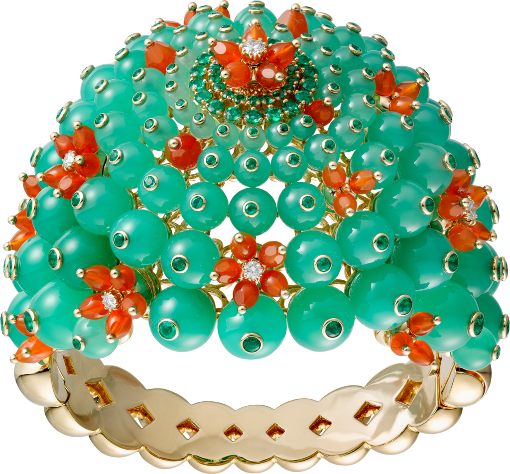 Cactus de Cartier braceletYellow gold, emeralds, chrysoprases, carnelians, diamonds