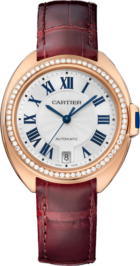 Clé de Cartier watch35 mm, 18K pink gold, leather, diamonds