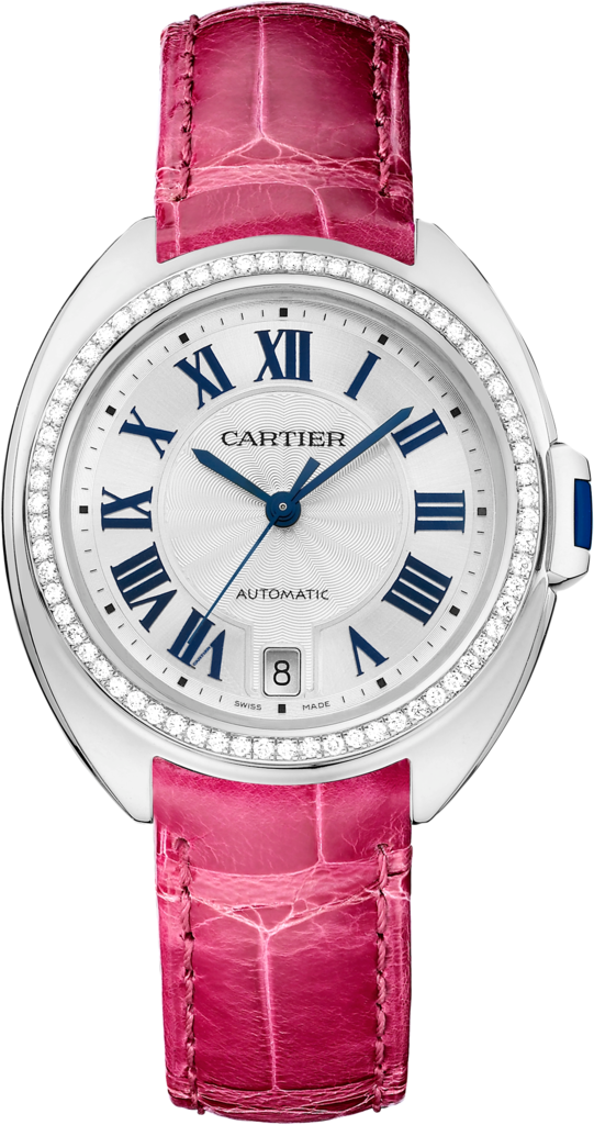 Clé de Cartier watch35 mm, rhodiumized 18K white gold, leather, diamonds