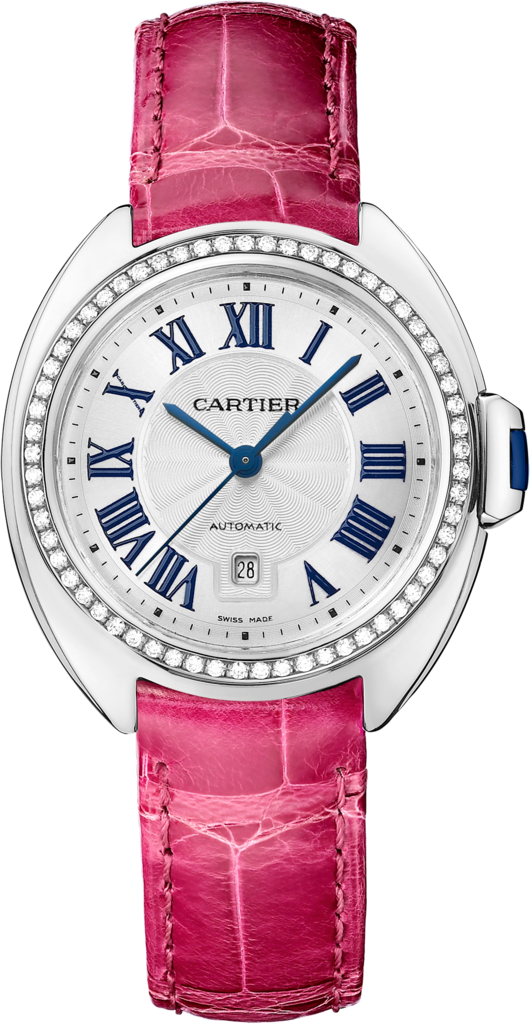 Clé de Cartier watch31 mm, rhodiumized 18K white gold, leather, diamonds