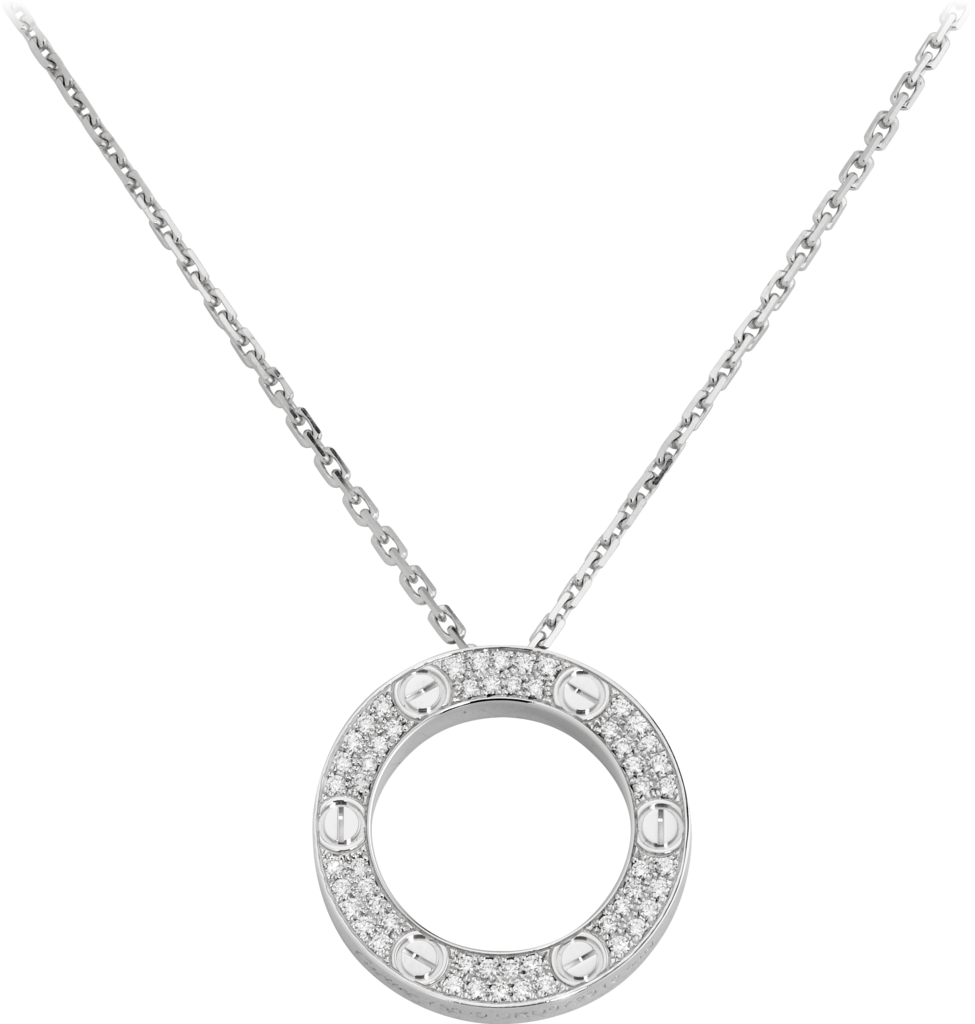 Love necklace, diamond-pavedWhite gold, diamonds