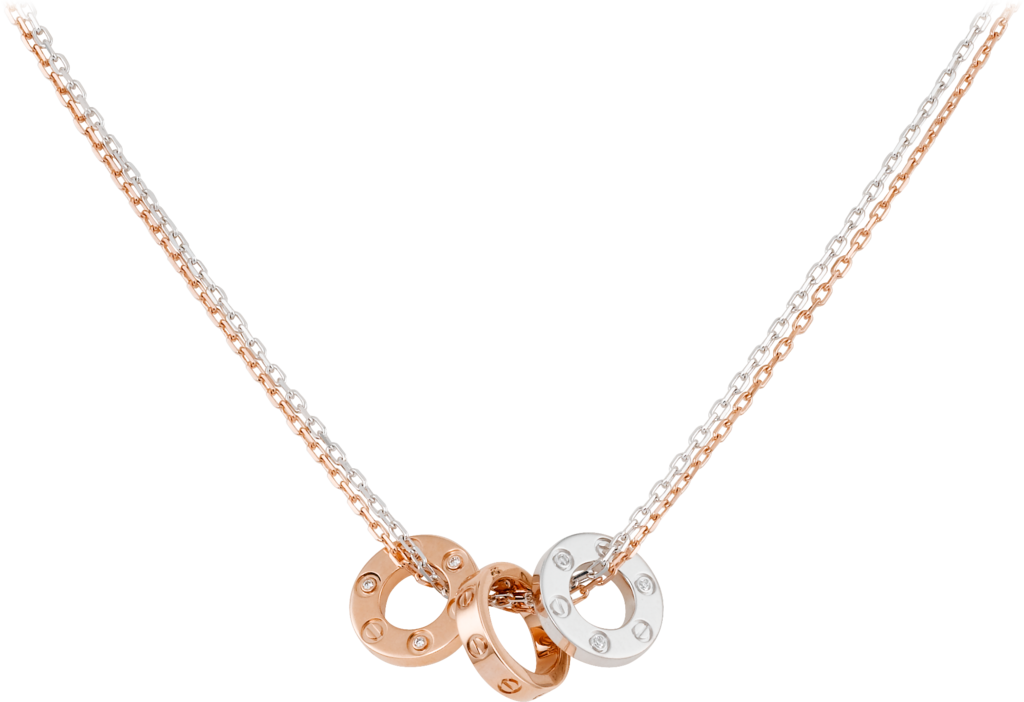 Love necklace, 6 diamondsPink gold, white gold, diamonds