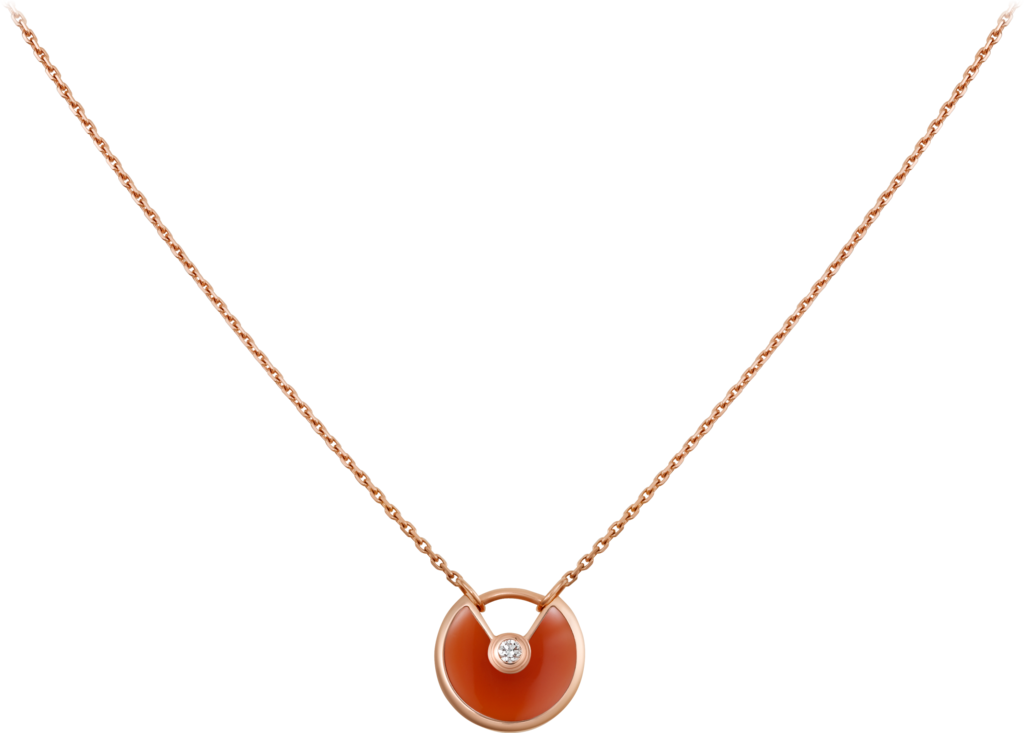 Amulette de Cartier necklace, XS modelPink gold, carnelian, diamond