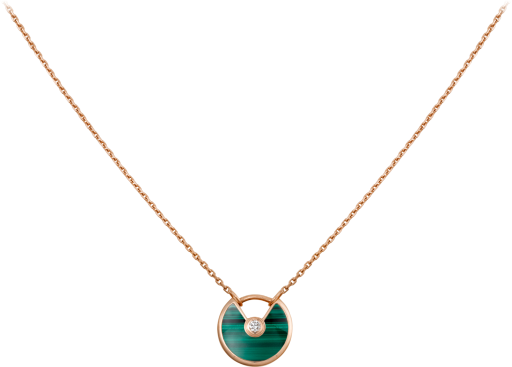 Amulette de Cartier necklace, XS modelPink gold, malachite, diamond