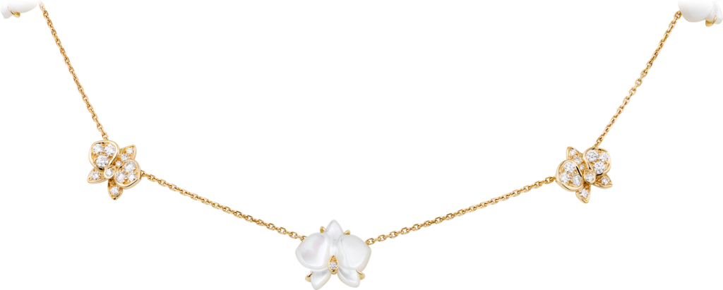 Caresse d'Orchidées par Cartier necklaceYellow gold, white mother-of-pearl, diamonds