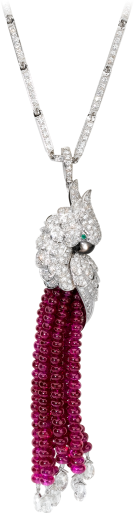 Les Oiseaux Libérés necklaceWhite gold, rubies, emeralds, mother-of-pearl, diamonds
