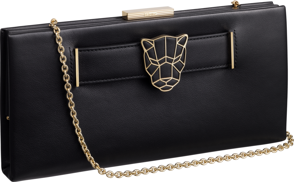 Panthère de Cartier clutch bagBlack calfskin, gold finish