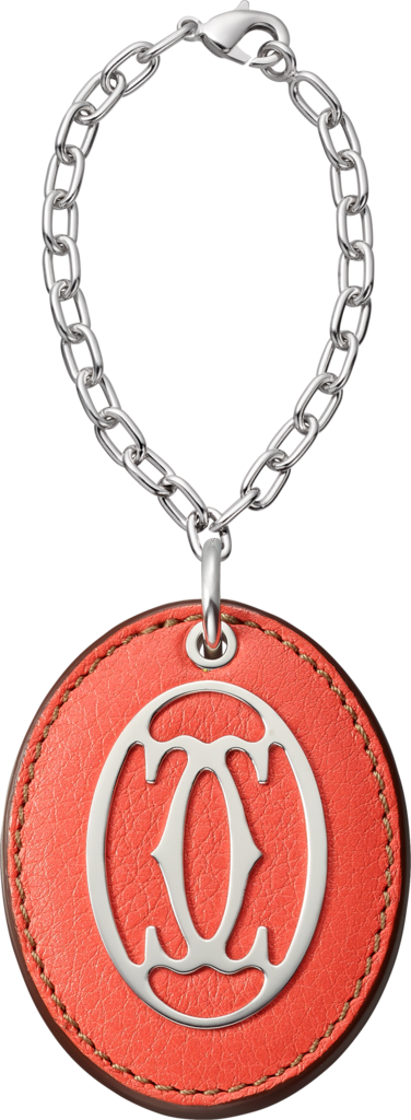 C de Cartier key ringCoral-colored leather, metal, polished palladium finish, chain