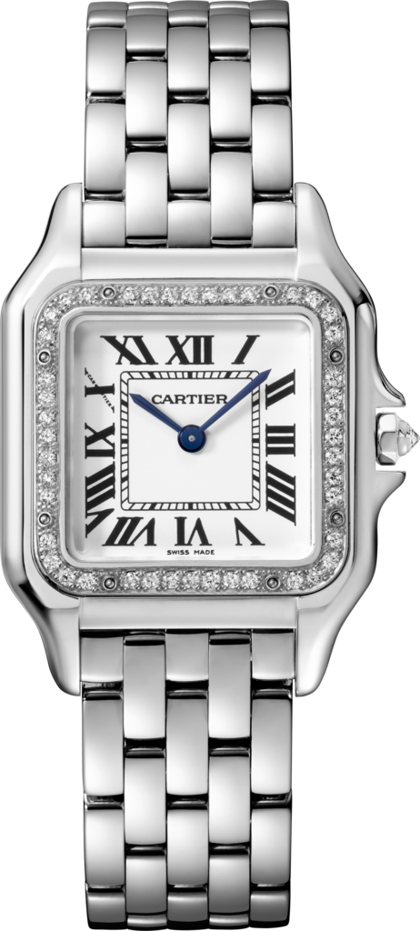 Panthère de Cartier watchMedium model, rhodiumized white gold, diamonds