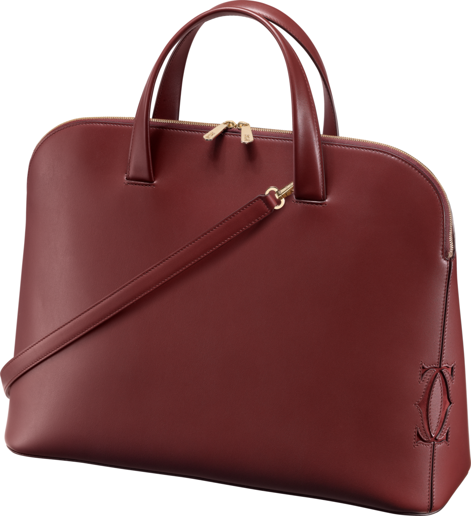 Must-C tote bag, medium modelBurgundy calfskin, golden finish