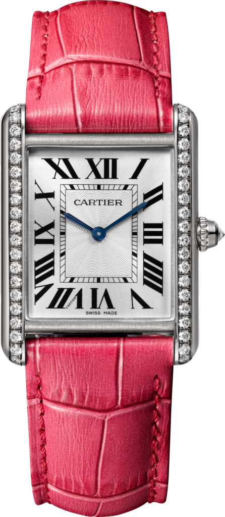 Tank Louis Cartier watchLarge model, rhodiumized 18K white gold, leather, diamonds