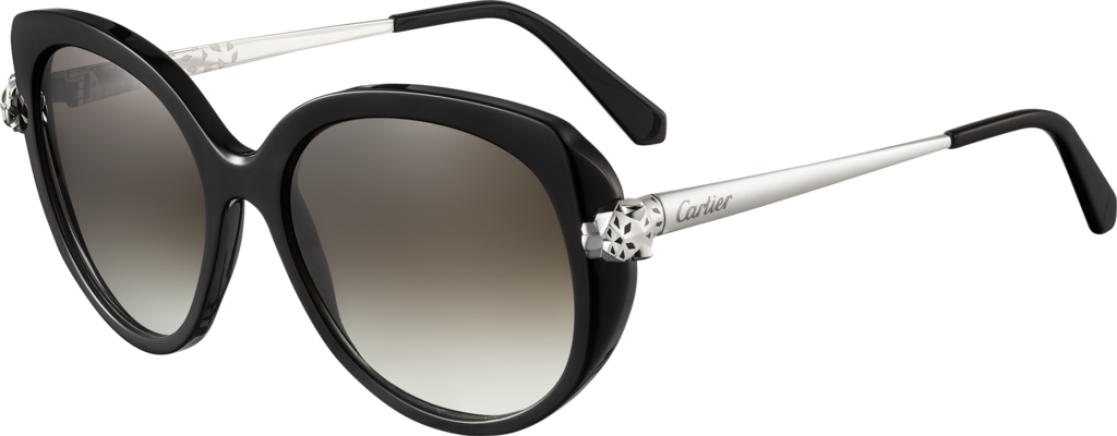 Panthère de Cartier sunglassesCombined black, smooth platinum-finish motif