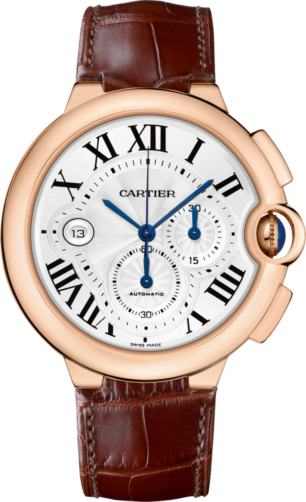 Ballon Bleu de Cartier watchXL model, 18K pink gold, leather