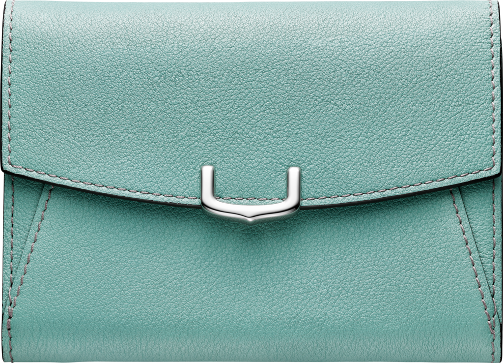 C de Cartier Small Leather Goods, compact walletGreen beryl color taurillon leather, palladium finish