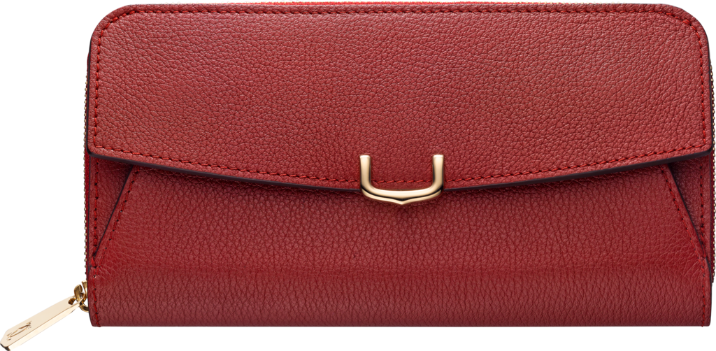 C de Cartier Small Leather Goods, zipped walletRed spinel color taurillon leather, golden finish