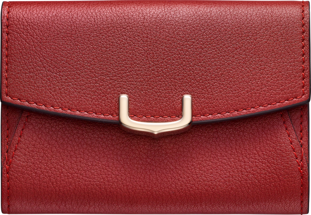 C de Cartier Small Leather Goods, business card holderRed spinel color taurillon leather, golden finish