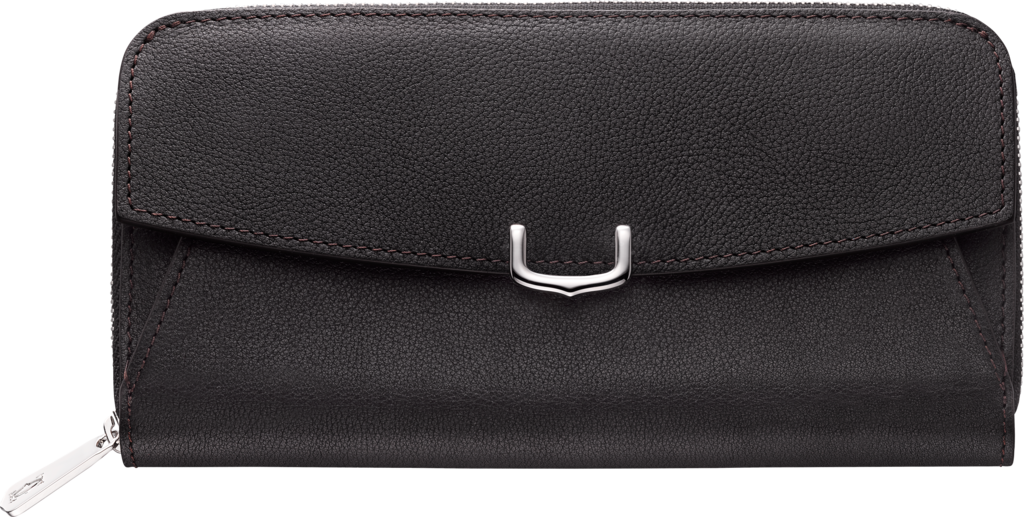 C de Cartier Small Leather Goods, zipped walletOnyx color taurillon leather, palladium finish