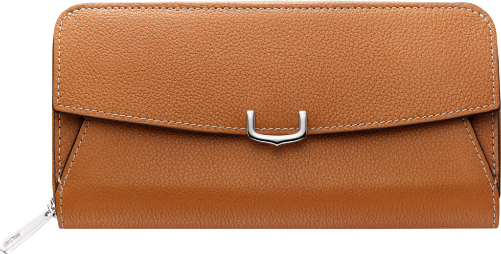 C de Cartier Small Leather Goods, zipped walletImperial topaz color taurillon leather, palladium finish