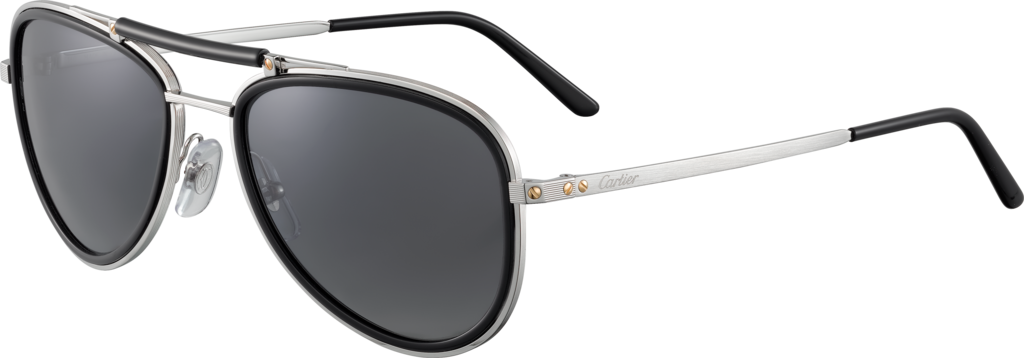 Santos de Cartier sunglassesMetal, brushed platinum finish, gray polarized lenses