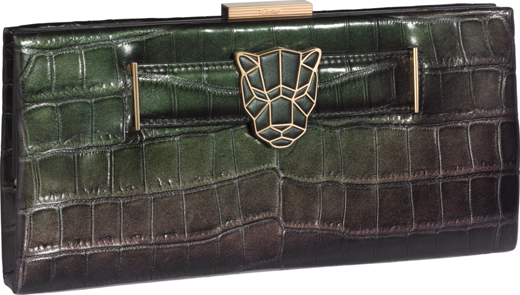 Panthère de Cartier clutch bagIridescent green crocodile skin, golden finish