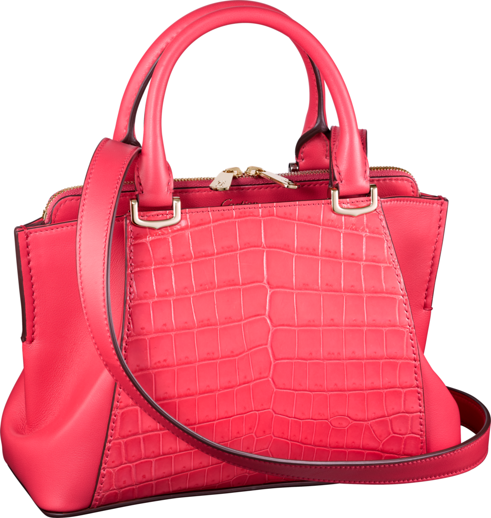 C de Cartier bag, mini modelCoral-colored niloticus crocodile skin and calfskin, gold finish