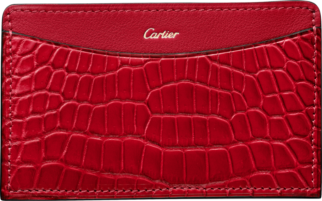 C de Cartier Small Leather Goods, card holderRuby niloticus crocodile skin and calfskin, gold finish