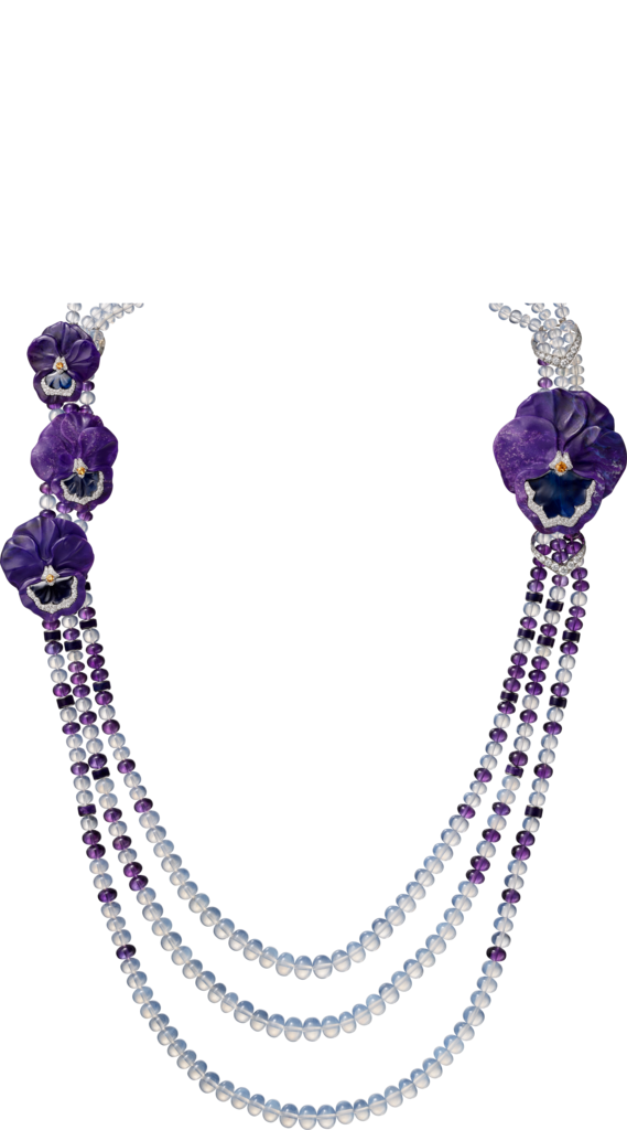 High Jewelry necklacePlatinum, sugilite, sapphires, garnets, moon quartz, amethysts, diamonds