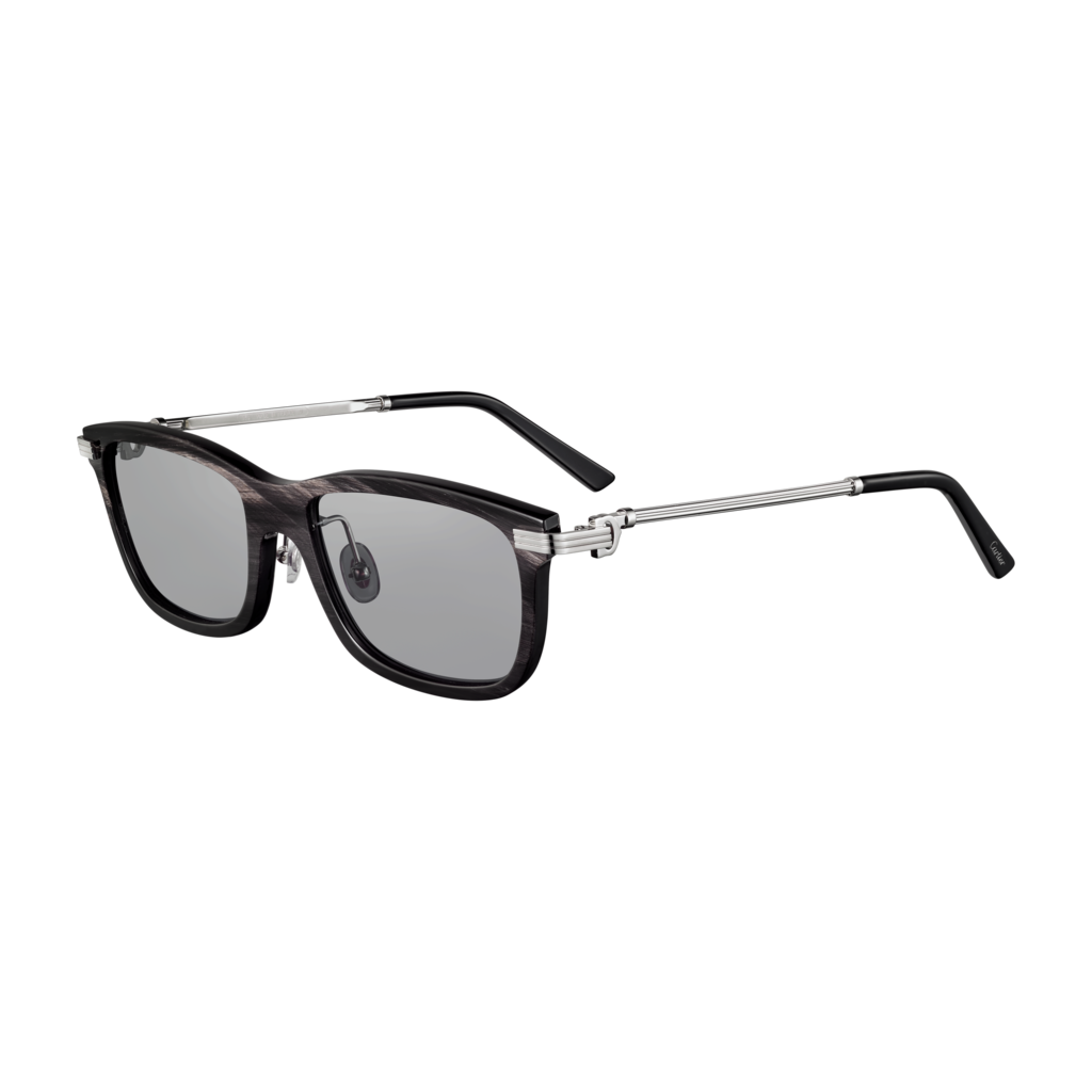 Première de Cartier sunglassesGenuine black marbled horn, platinum finish, gray polarized lenses