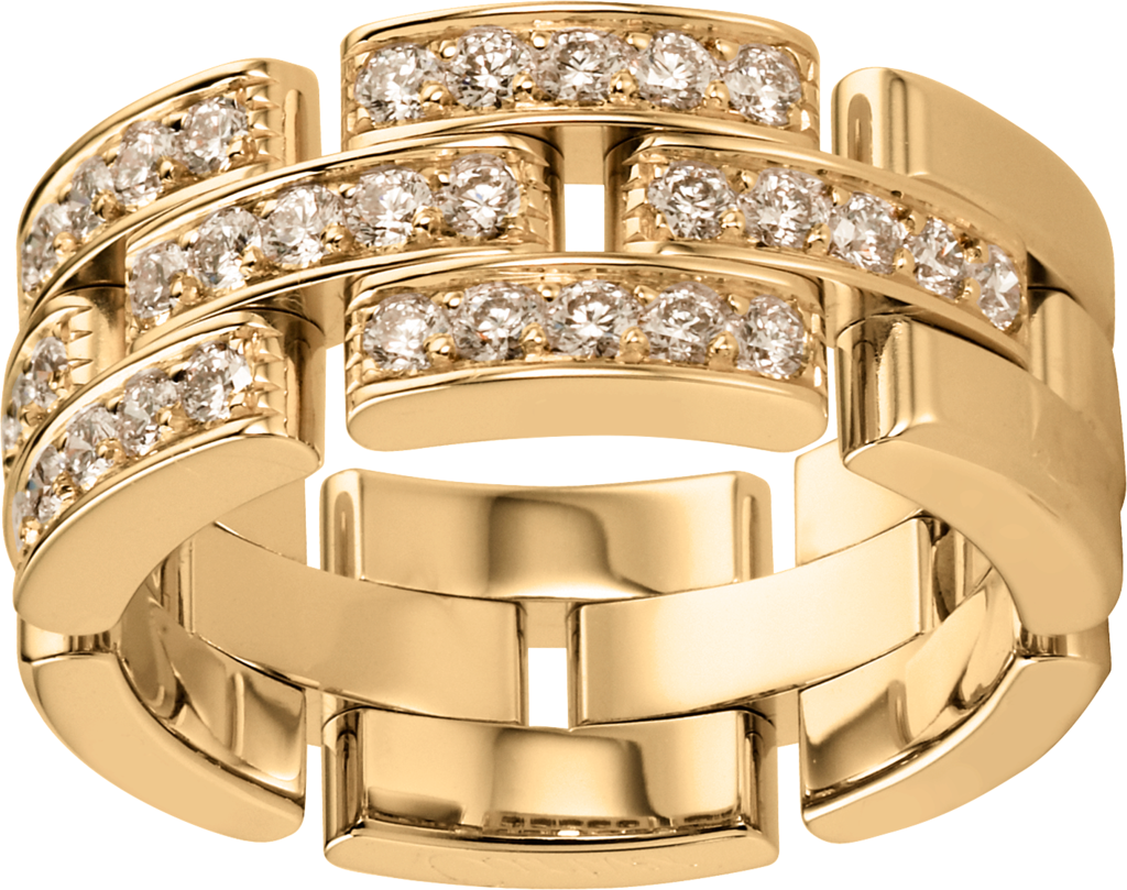 Maillon Panthère ring, 3 half diamond-paved rowsYellow gold, diamonds