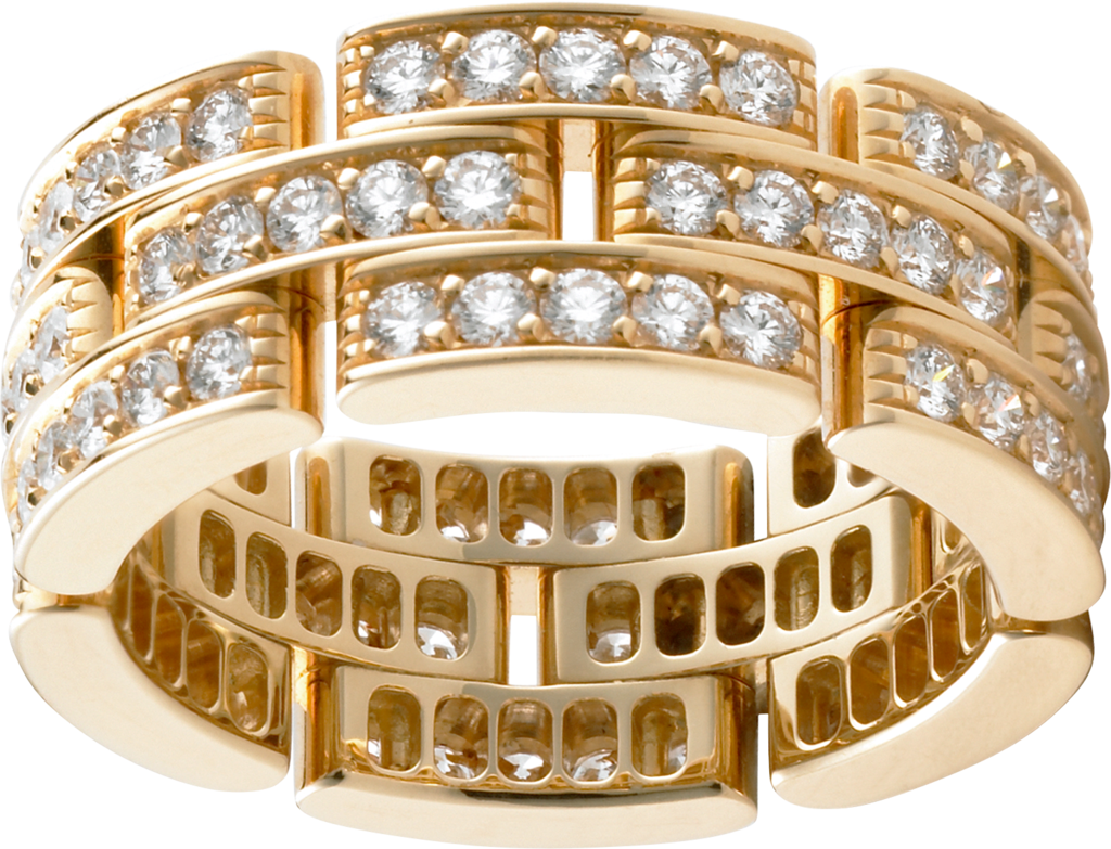 Maillon Panthère ring, 3 diamond-paved rowsYellow gold, diamonds