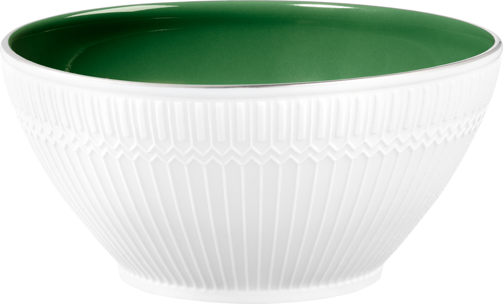 Green bowl with Art Deco motifBiscuit porcelain, emerald green enamel