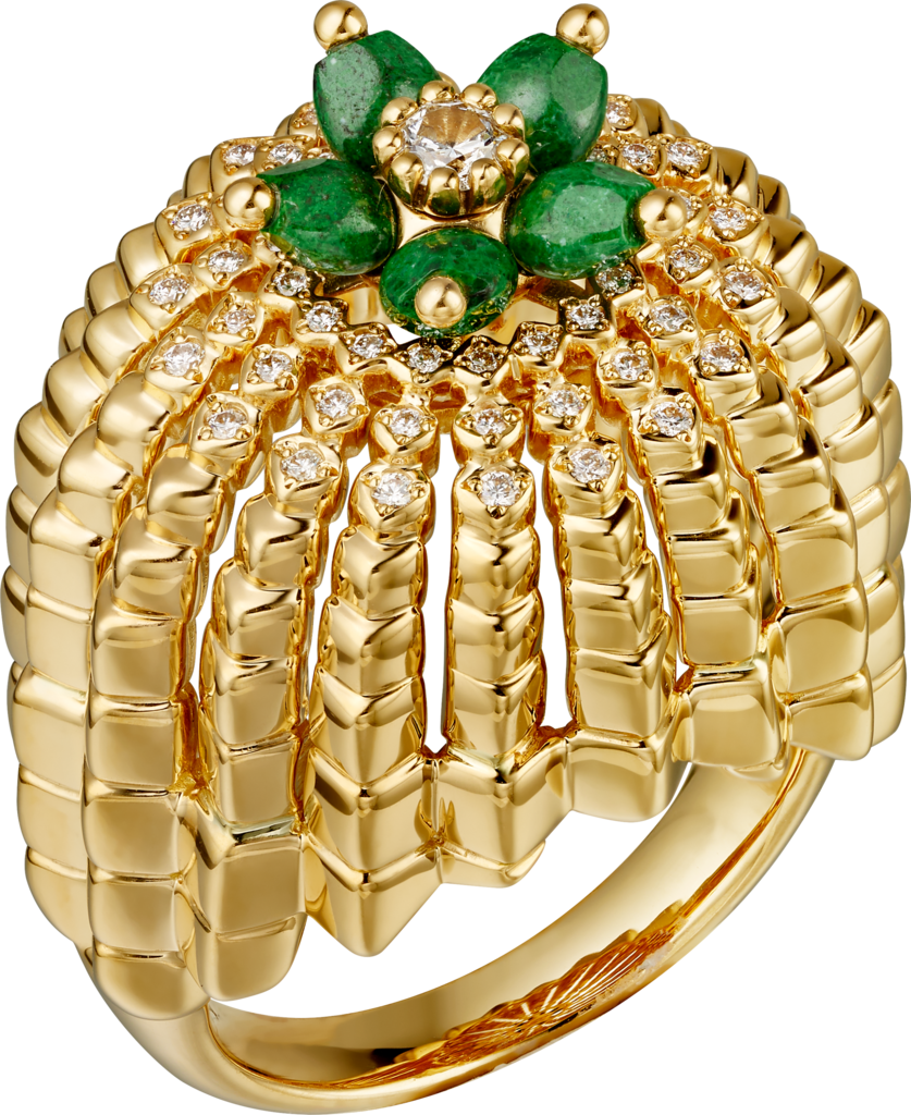 Cactus de Cartier ringYellow gold, sannan-skarn, diamonds