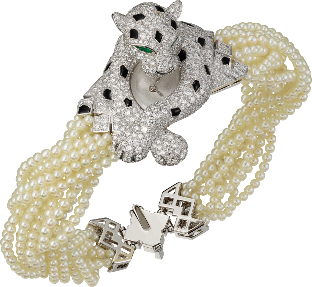High Jewelry figurative watchWhite gold, pearls, emeralds, onyx, diamonds