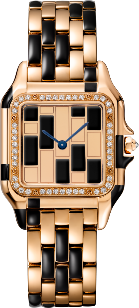 Panthère de Cartier watchMedium model, pink gold and black lacquer, diamonds
